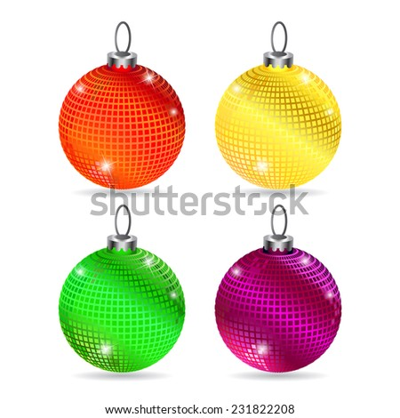 Set of colorful baubles on white background with shadows