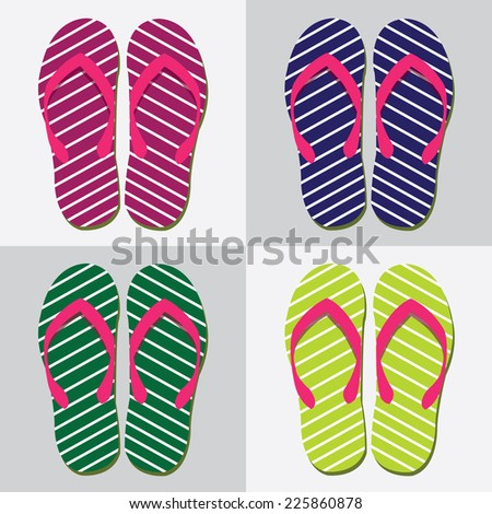 set of colorful beach sandals. vector illustration
