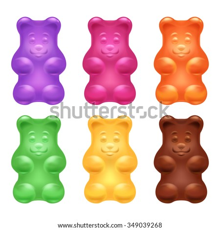 Set of colorful beautiful realistic jelly gummy bears. Sweet candy food. Blueberry orange lemon menthol chocolate flavors. Vector illustration. - stock vector