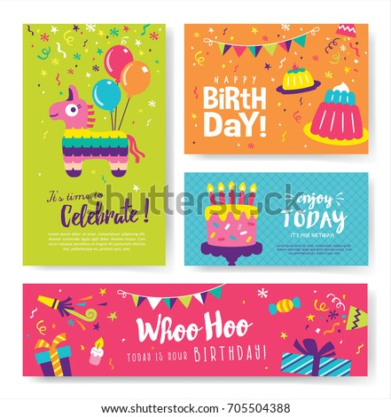 Set of colorful birthday cards design