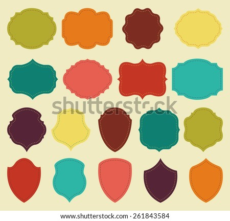 Set of colorful blank labels and vintage frames. Vector elements for design. - stock vector