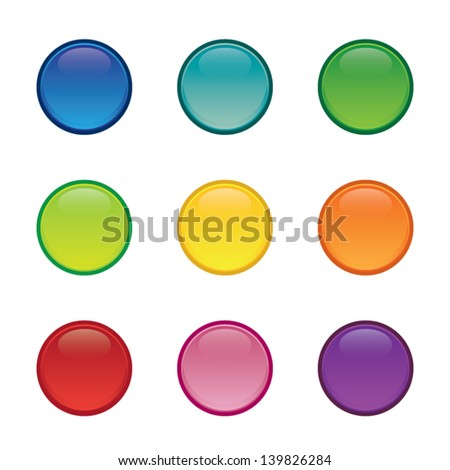 Set of Colorful Blank Round Buttons