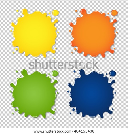 Set Of Colorful Blots, Isolated on Transparent Background, Vector Illustration - stock vector