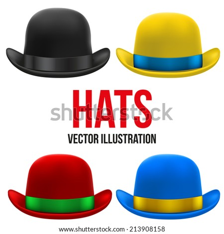 Set of colorful bowler hats with silk ribbon. Vector Illustration Isolated on a white background - stock vector