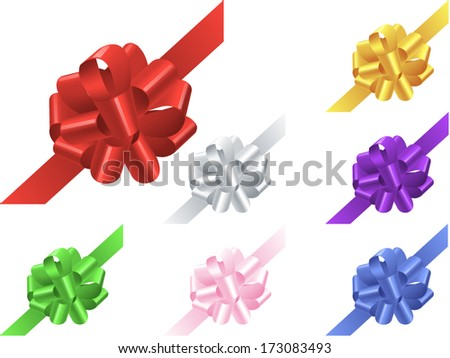Set of colorful bows with ribbon isolated on white background. Vector illustration