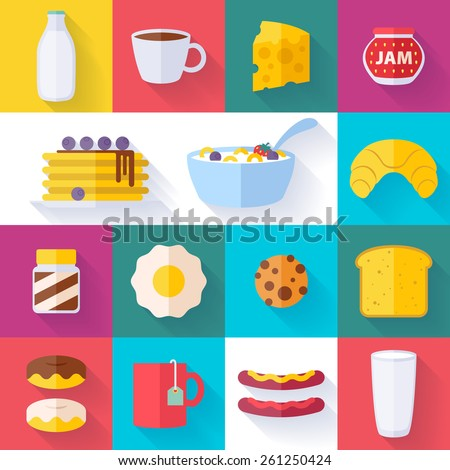 Set of colorful breakfast icons flat style with shadow. Morning food symbols. - stock vector