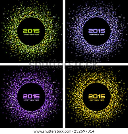 Set of  Colorful Bright New Year 2015 Backgrounds, vector illustration  - stock vector