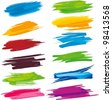 set of colorful brush strokes - stock photo