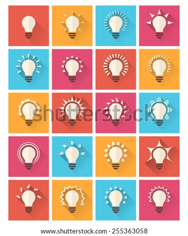 Set of colorful bulb flat icons. Vector eps10 - stock vector