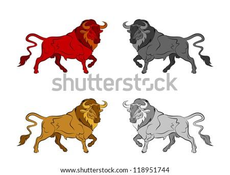 Set of colorful bulls - stock vector