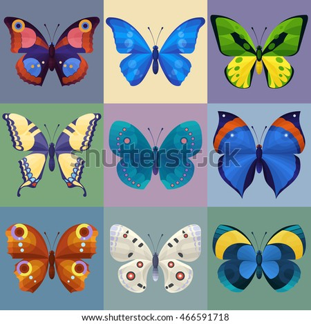 Set of colorful butterflies for design. Vector illustration