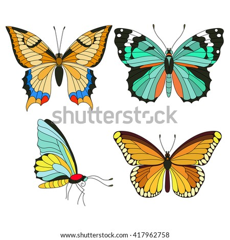 Set of colorful butterflies isolated on white background. Vector illustration - stock vector