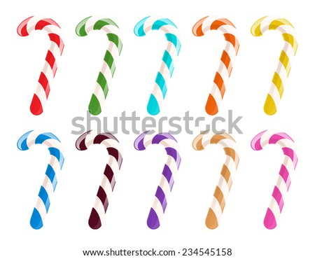 Set of colorful candy canes on white background. Christmas sweet treat. - stock vector