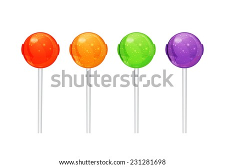 Set of colorful candy on a stick vector - stock vector