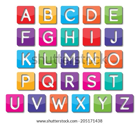 set of colorful capital alphabet letters A to Z fonts. vector.