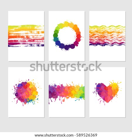 Set Colorful Cards Paint Stains Splatters Stock Vector (2018 ...