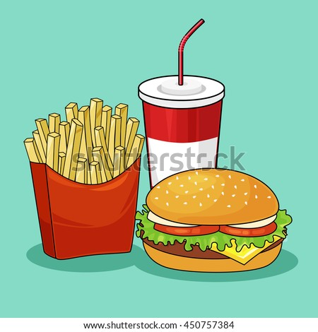 Set of colorful cartoon fast food icons.French fries. potato,  burger,soda takeaway