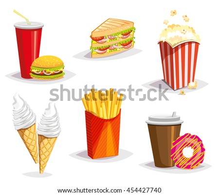 Set of colorful cartoon fast food icons on white background. Isolated vector. Cola and Burger, sandwich, French fries, coffee and donut,  popcorn, ice cream. Vector illustration. Eps 10.