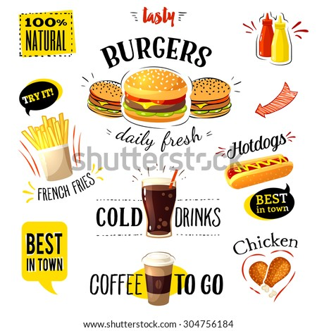 Set of colorful cartoon fast food labels, isolated on white. Vector illustration, eps10. - stock vector