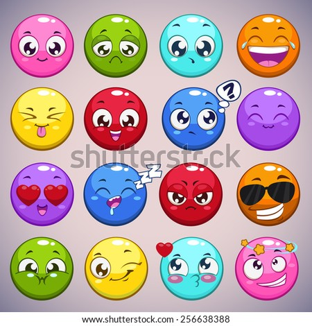 Set of colorful cartoon round characters with different emotions, isolated vector emoticons - stock vector