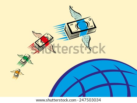 Set of Colorful Cash with wings swiftly fly over a blue globe - stock vector