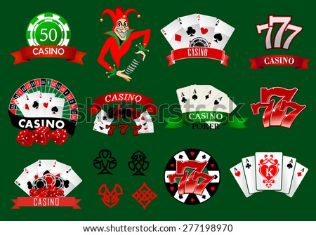 Set of colorful casino icons and emblems with playing cards, joker, tokens, 777 lucky number and assorted banners, vector illustration - stock vector