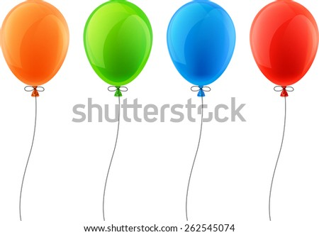 Set of colorful celebration balloons. Vector illustration.  - stock vector