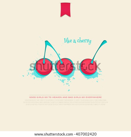 set of colorful cherry icons isolated on white background. vector fresh fruit banner design. cool, delicious natural product branding, package template. purity concept illustration - stock vector