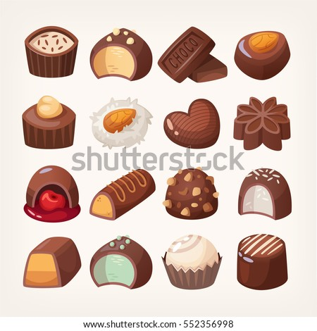 Set of colorful chocolate desserts and candies from boxes for special holidays, valentine day, for a lunch snack or coffee break