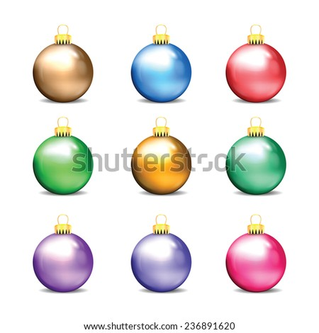 Set of colorful Christmas balls isolated on white background - stock vector