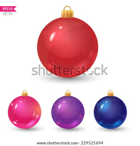 set of colorful christmas balls: red, pink, violet and blue - stock vector