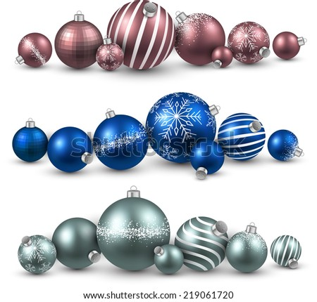 Set of colorful christmas balls. Vector illustration.   - stock vector
