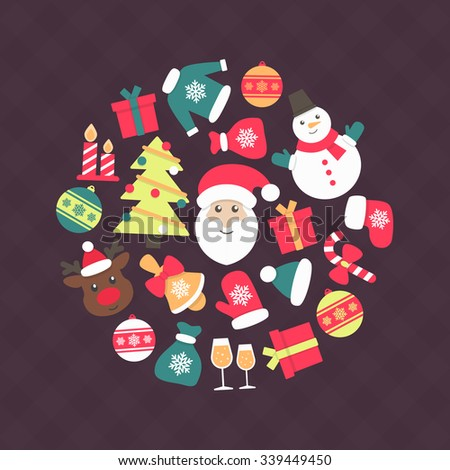 Set of colorful christmas characters and decorations.Christmas icon set. Holiday objects collection. Vector illustration  - stock vector