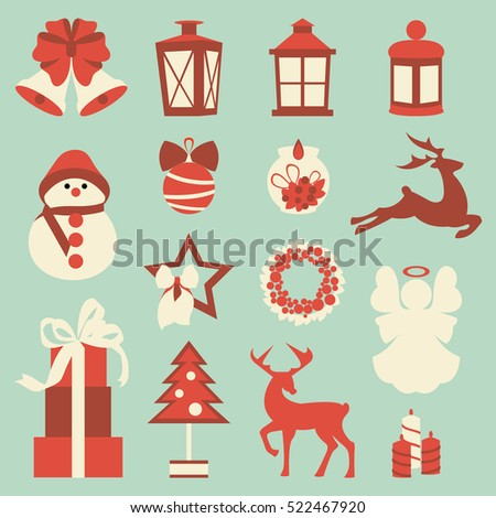 Set of colorful christmas elements and decorations