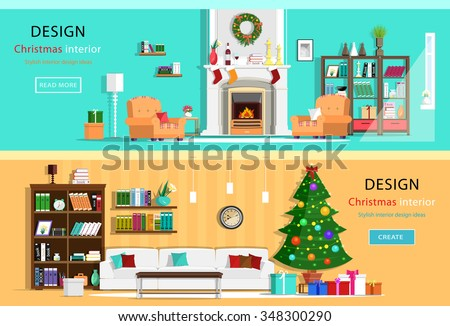 Set of colorful Christmas interior design house rooms with furniture icons. Christmas wreath, Christmas tree, fireplace. Flat style vector illustration - stock vector