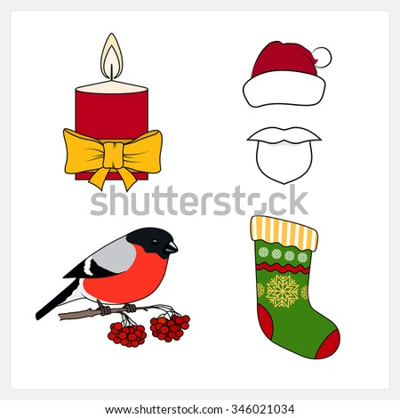 Set of Colorful Christmas Line Style Icons, Christmas Candle, Bullfinch Sitting on a Branch with Bunches of Rowan,Sock Decorated Snowflakes,  Santa Claus  with a Beard, Mustache and Hat without a Face - stock vector