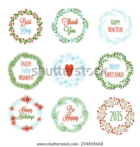 Set of colorful Christmas wreaths . Vector illustration - stock vector