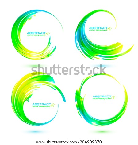 Set of colorful circle abstract vector frames - stock vector