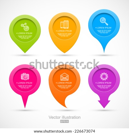 Set of colorful circle pointers. Easy to change colors. - stock vector
