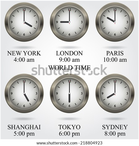 Set of colorful clock icon,world time concept. Vector illustration