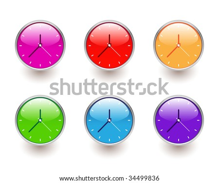 set of colorful clocks - stock vector