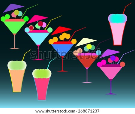 set of colorful cocktails with umbrellas and straws, martinis and other