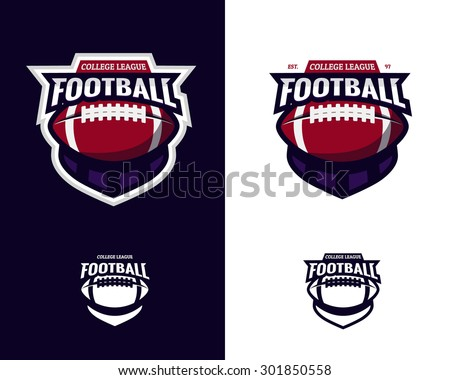 Set of colorful college american football logo labels with bonus black and white versions. Vector abstract illustration. - stock vector