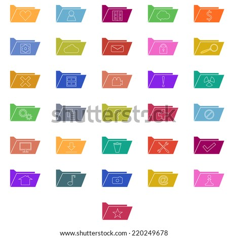 Set of colorful computer folders with different signs. Information storage - stock vector