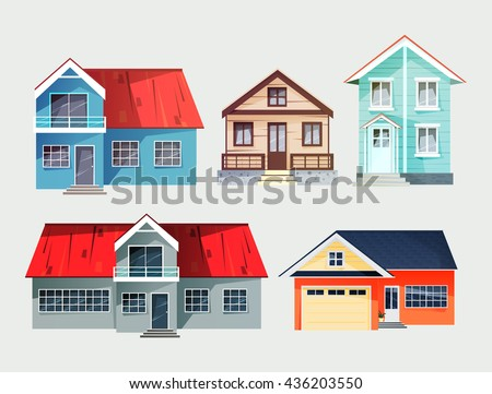 Set Of Colorful Cottage Houses Flat Buildings Vector Illustration