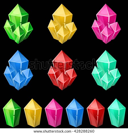 Set of colorful crystals. 2d gem asset for games collection. Vector illustration. - stock vector