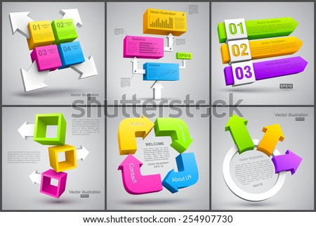 Set of colorful cubes with arrows 3D. - stock vector