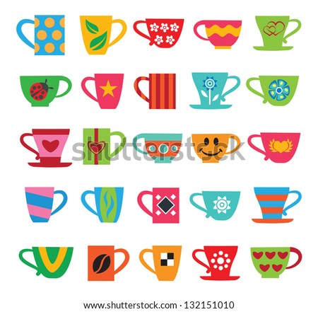 Set of colorful cups - stock vector