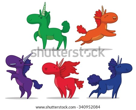Set of Colorful cute funny unicorns, vector - stock vector