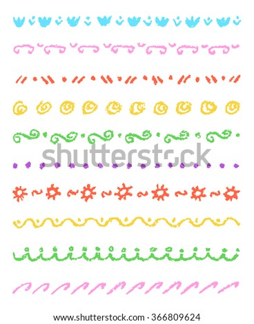 Set of colorful cute ornament stripes. Wax crayon chalk hand drawn patterned background. Group of fun hand drawing vector pattern. Pastel chalk child's hand drawn design elements. - stock vector